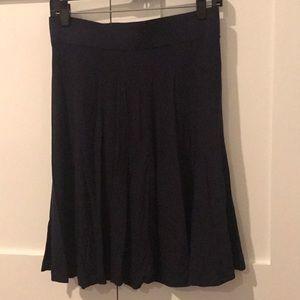 Loft Navy Knee Length Circle Skirt Size Small